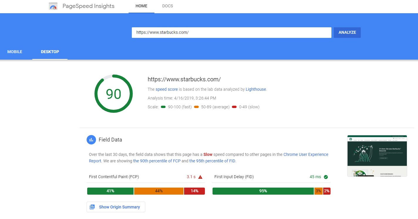 Google PageSpeed Insights For Starbucks