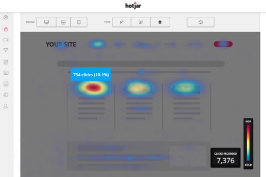 Hotjar click rate heatmap