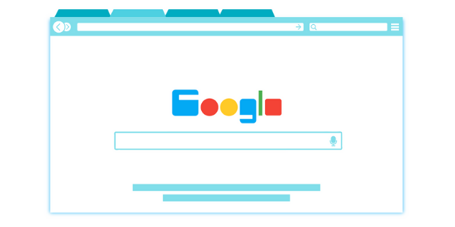Google seo news animated browser window with tab opened
