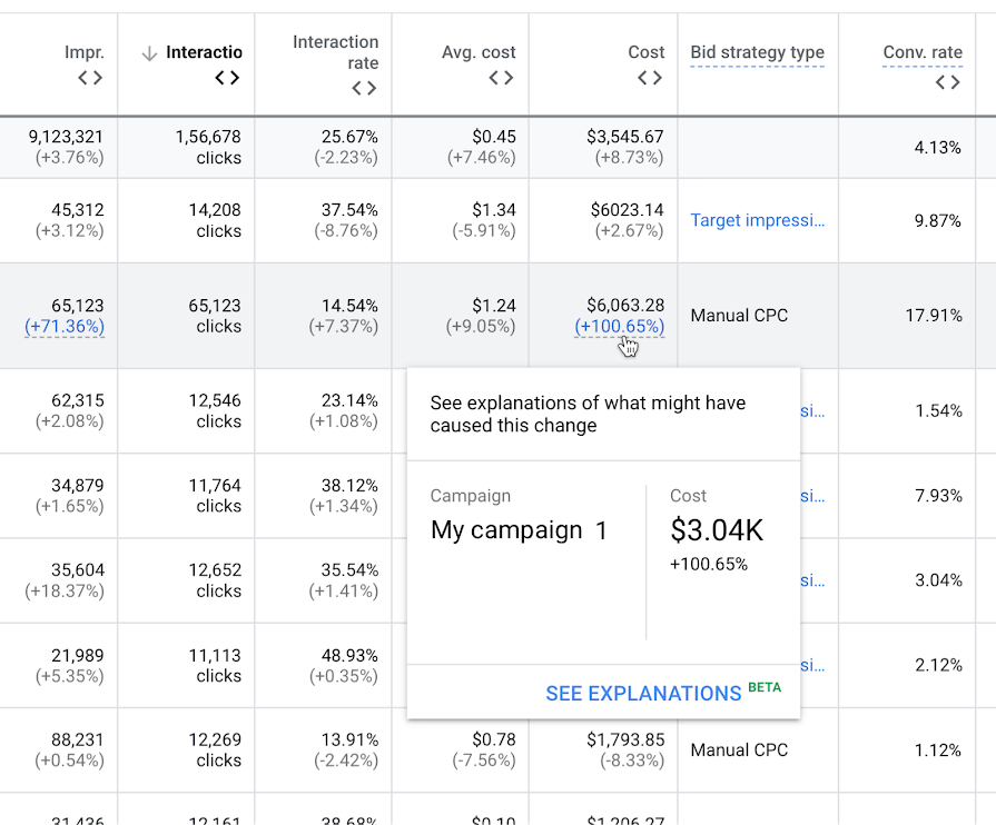 google ads explanations screenshot beta