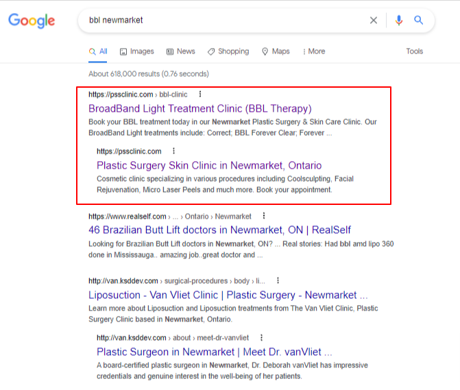 Healthcare SEO services results